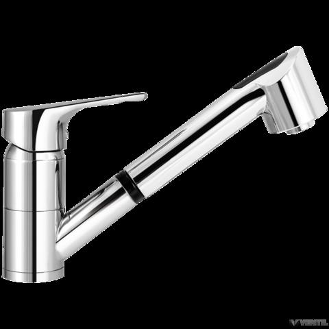 Mofém Junior Evo egykaros álló mosogató csaptelep kihúzható zuhanyfejjel, forgatható alsó kifolyócsővel