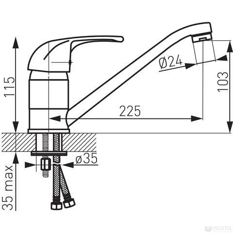 Ferro Vasto egykaros álló mosogató csaptelep forgatható kifolyócsővel