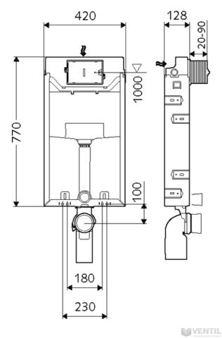 Schell Montus C-N 120 beépíthető WC tartály nem lábonálló