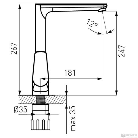 Ferro Espacio egykaros álló mosogató csaptelep forgatható kifolyócsővel