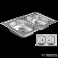HB süllyesztett mosogatótálca 2 medencés, szögletes 440x780x150 mm (szifonnal, tömítéssel)