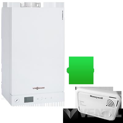 Viessmann Vitopend 100-W 24KW fűtő kéményes gázkazán + Honeywell XC100 CO riasztó
