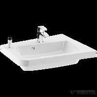 Ravak 10° 650 jobbos mosdó, 65x53,5 cm, szabadon álló/beépíthető, fehér öntött műmárvány, csaplyukkal, túlfolyóval