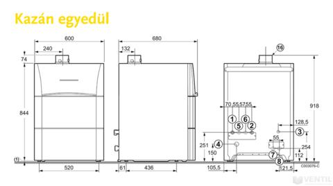 Remeha Calora 25S EU ERP kondenzációs gázkazán álló