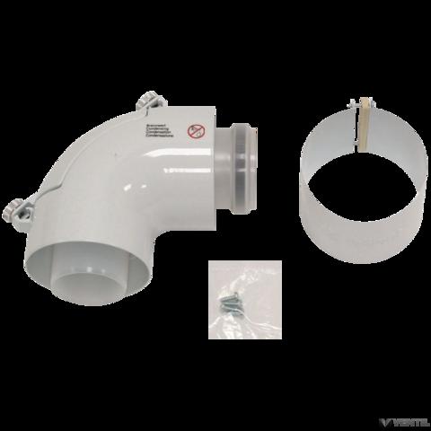 Vaillant 80/125 mm-es PP könyökidom tisztító nyílással, koncentrikus rendszerekhez
