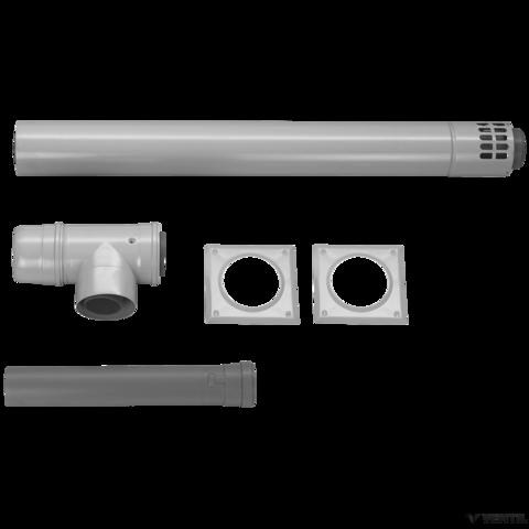 Bosch 100/150 mm-es vízszintes elvezetőkészlet, T-idom vizsgálónyílással, 80/125 - 100/150 mm-es adapterrel, L=1205 mm (AZB 632/2)