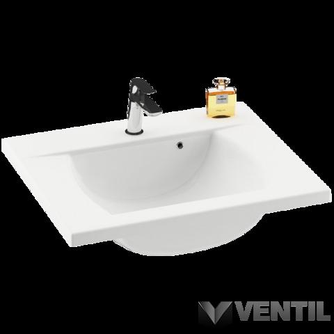 Ravak Classic 600 mosdó, 60x49 cm, szabadon álló/beépíthető, fehér öntött műmárvány, csaplyukkal, túlfolyóval