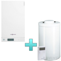 Viessmann Vitodens 100-W Touch 19 kW gázkazán, kondenzációs hőközpont Vitocell 100-W 120 L tárolóval Vitotrol 100 UTDB szobatermosztáttal EU-ERP