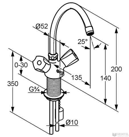Kludi Standard mosdó csaptelep merev bekötőcsővel