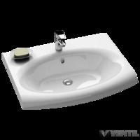 Ravak Evolution mosdó, 70x55 cm, fehér öntött műmárvány, csaplyukkal, túlfolyóval