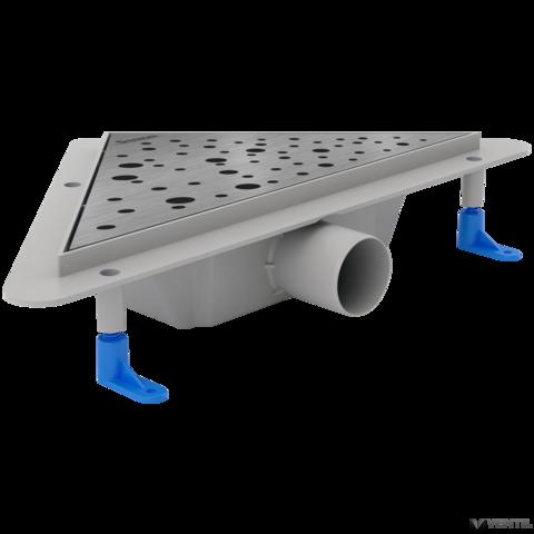 Styron sarok zuhanyfolyóka rozsdamentes Drops ráccsal, matt, 450x275 mm