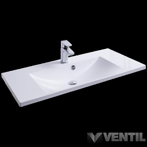 Ravak Flat 900 mosdó, 90x46 cm, szabadon álló/beépíthető, fehér, csaplyukkal, túlfolyóval