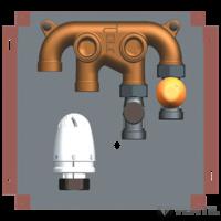 Herz helyiség szabályozó szett radiátor és padlófűtés csatlakozással kombinálva