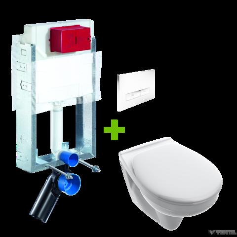 Schell Montus C-N 120 falazható WC tartály + Konkav fehér nyomólap + Alföldi 7056 WC csésze