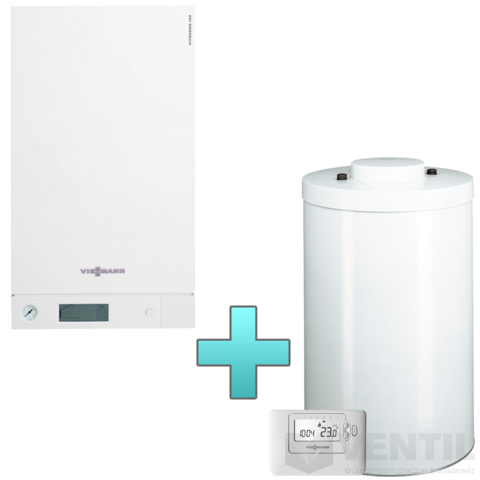 Viessmann Vitodens 100-W Touch 19 kW gázkazán, kondenzációs hőközpont Vitocell 100-W 120 L tárolóval Vitotrol 100 OT1 távszabályozóval EU-ERP