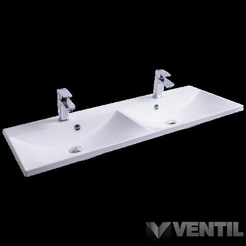 Ravak Flat Duo 1200 duplamosdó, 120x46 cm, szabadon álló/beépíthető, fehér, csaplyukkal, túlfolyóval