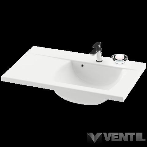 Ravak Classic 800 jobbos mosdó, 80x49 cm, szabadon álló/beépíthető, fehér öntött műmárvány, csaplyukkal, túlfolyóval