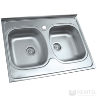 HB teletetős mosogatótálca 2 medencés 600x800x170 mm (szifonnal, tömítéssel, keretléccel)