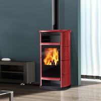 Edilkamin Big fatüzelésű kályha vörös kerámia  oldalak, fedlap  és intarzia díszítés 11kW