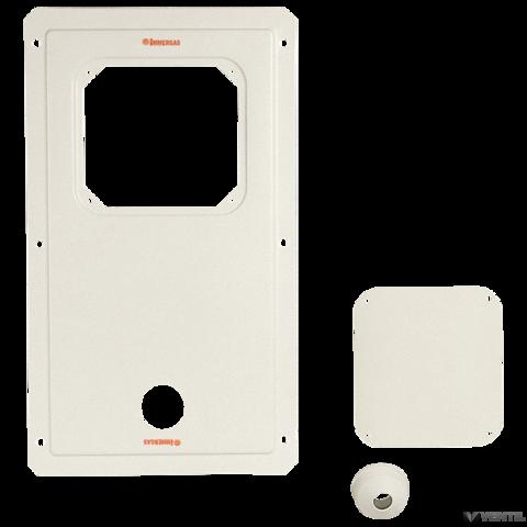Immergas kémény szerelőnyílását lezáró készlet szerelőnyílást lezáró lemezzel, tartólemezekkel 80-mm-es bekötéshez