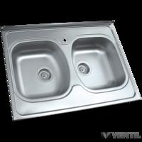 HB teletetős mosogatótálca 2 medencés 600x900x170 mm (szifonnal, tömítéssel, keretléccel)