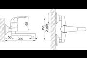 Ferro Vasto egykaros fali mosdó csaptelep forgatható kifolyócsővel