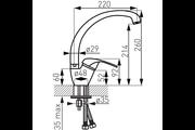 Ferro Vasto egykaros aszimetrikus álló mosogató csaptelep forgatható kifolyócsővel