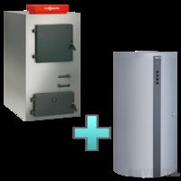 Viessmann Vitoligno 100-S 25 kW faelgázosító kazán + Vitocell 100-E puffertartály
